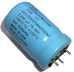 1200uF 75V Radial Electrolytic Capacitor CDE 101122U075AA2PCENT