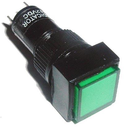 Green 12mm 12V Square Panel Mount Lamps LEDS Lights