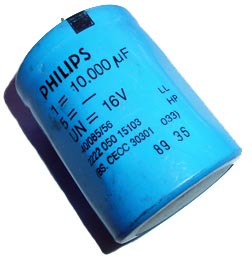10000uF 16V Radial Electrolytic Capacitor Philips 2222-050-15103