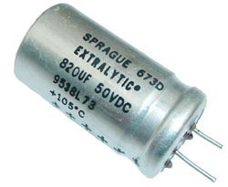 820uF 50V Radial Electrolytic Capacitor Sprague 673D827H050HJ5C
