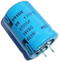 4700uF 35V Radial Snap In Electrolytic Capacitor Sprague 81D Series