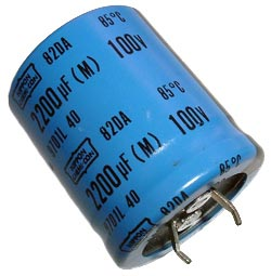 2200uF 100V Radial Snap In Electrolytic Capacitor Nippon 82DA221M100KC