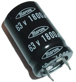 1800uF 63V Radial Snap In Electrolytic Capacitor Marcon CEAUF1J182M10