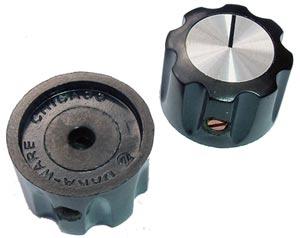 Black Plastic and Aluminum Control Instrument Octagonal Knob Daka-Ware
