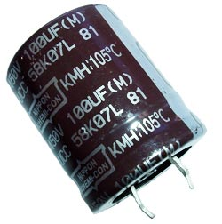100uF 450V Radial Snap In Electrolytic Capacitor Nippon KMH450VN101M25X30T2