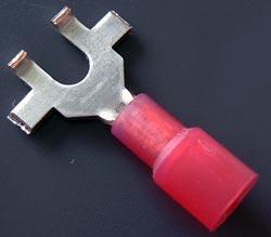 Solderless Crimp Terminals 0.3 Flanged Spade Red Lug Connectors