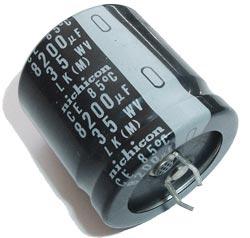 8200uF 35V Radial Snap In Electrolytic Capacitor Nichicon LLK1V822MHSB