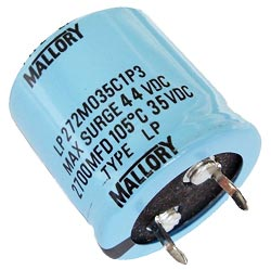 2700uF 35V Radial Snap Mount Electrolytic Capacitor Mallory LP272M035C1P3
