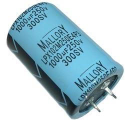 1000uF 250V Radial Snap In Electrolytic Capacitor Mallory LPX102M250E4P3