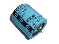1500uF 200V Radial Snap In Electrolytic Capacitor Mallory LPX152M200H7P3