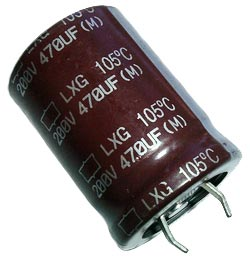 470uF 200V Radial Snap Mount Electrolytic Capacitor Nippon LXG200VN471M25C