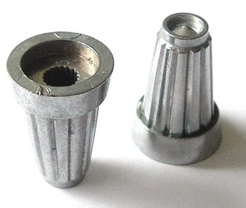 Plastic Silver Control Instrument Fluted Small Knob