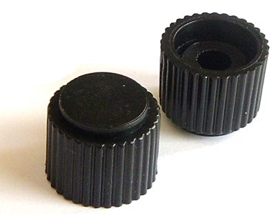 Black Small Plastic Ribbed Control Knob