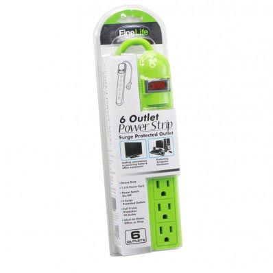 6 Outlet Power Strip Surge Protected Outlet in Lime Green
