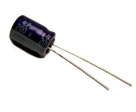 4.7uF 200V Radial Electrolytic Capacitor