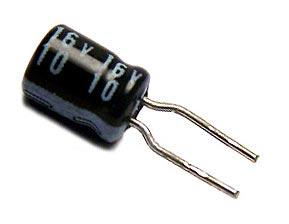 10uF 16V Mini Radial Electrolytic Capacitor Trim