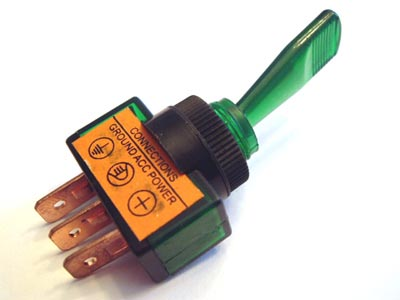 Toggle Switch 12VDC Green Illuminated Glow Automotive