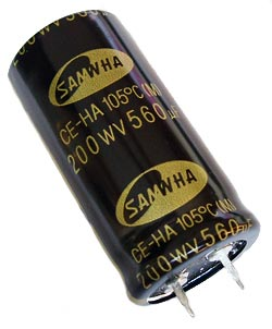560uF 200V Radial Snap In Electrolytic Capacitor Samwha® HA20VB567MHA25050