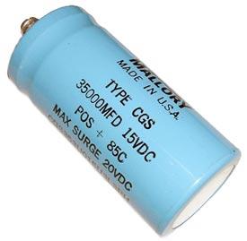 35000uF 15V Computer Grade Capacitor Mallory CGS353U015U3L3PH