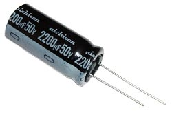 2200uF 50V Radial Electrolytic Capacitor Nichicon UVR1H222MHD