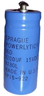 9200uF 15V Computer Grade Powerlytic Capacitor Sprague 36D