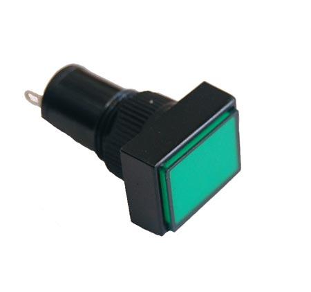 Green 12mm 12V Rectangular Panel Mount Lamps LED Lights