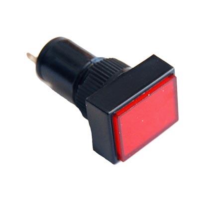 Red 10mm 12V Rectangular Panel Mount Lamps LED Lights