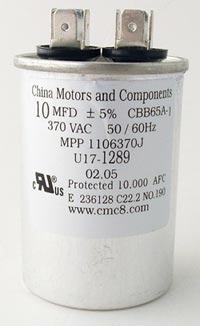 10uF 370VAC Motor Run Capacitor China Motors U17-1289