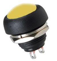 Push Button Momentary Switch Yellow Off On 125VAC CES 66-2444