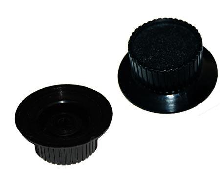Black Plastic Equipment Control Knob Skirted