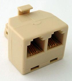 Telephone Line Splitter Modular Adapter 4P4C