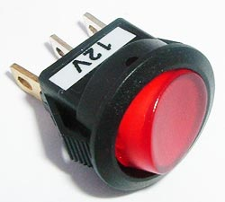 Mini Rocker Switch 6A 12V Red Lighted Auto