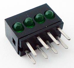Quad 2mm Green CBI Circuit Board Indicator LED Bar Dialight 555-4303