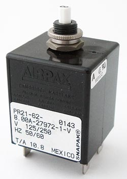 PR21-62-8.00A-27972-1-V 8A Magnetic Circuit Breaker Airpax