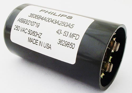 43uF-53uF 250VAC Motor Start Capacitor  Philips 3535B4A0043A250A5