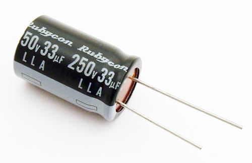 33uF 250V Radial Aluminum Electrolytic Capacitor Rubycon 250LLA33MN1S-118