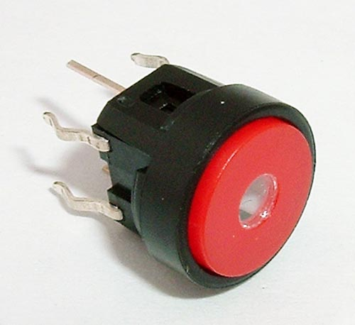 Pushbutton Switch Red LED Lighted 50mA 48V CIT CL1200B23R