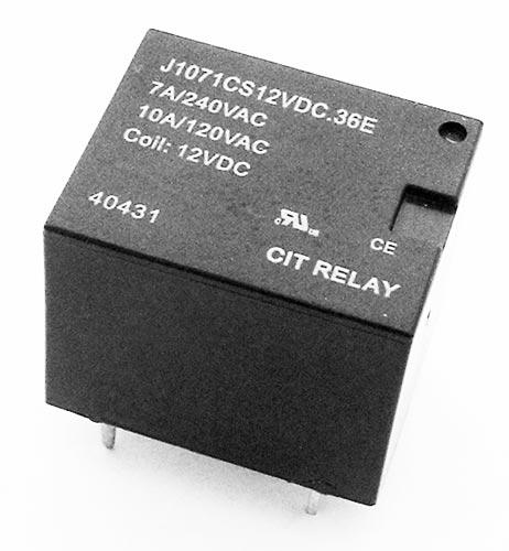 7A 240VAC 12VDC SPDT Relay CIT J1071CS12VDC.36E