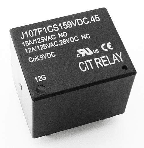 15A 9VDC SPDT Relay CIT J107F1CS159VDC.45