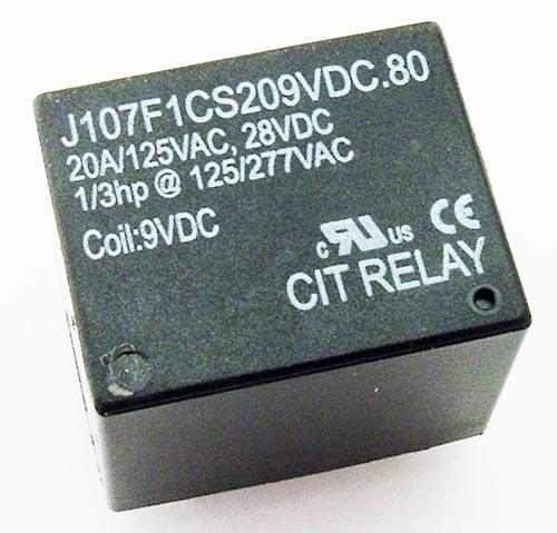 20A 9V Sealed Relay SPDT CIT J107F1CS209VDC.80