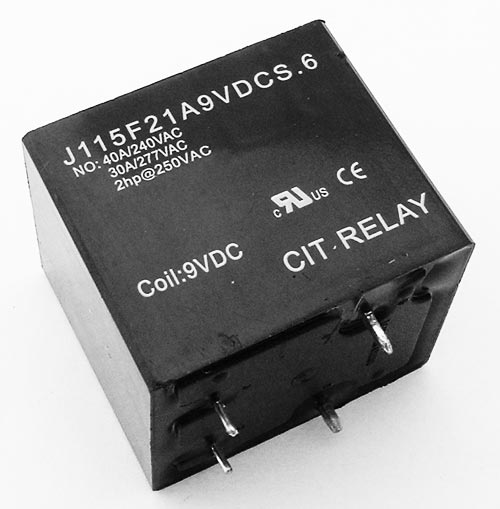 40A 9VDC SPST Relay Normally Open CIT J115F21A9VDCS.6