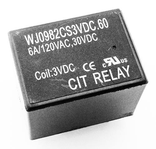 6A 3VDC DPDT Relay PCB Mount CIT WJ0982CS3VDC.60