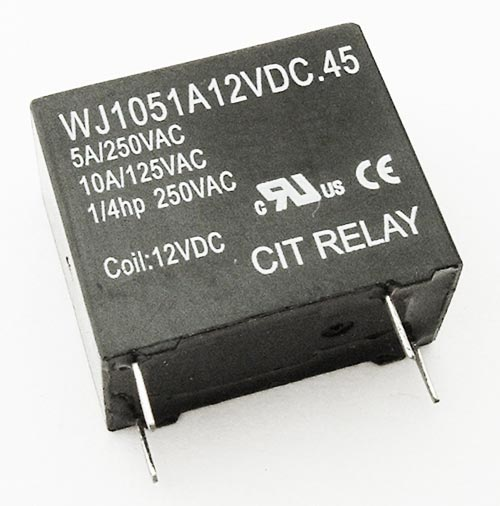 5A 12VDC SPST Relay Normally Open CIT WJ1051A12VDC.45