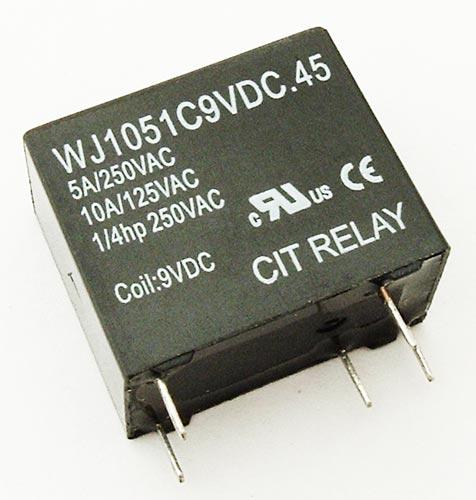 5A 9VDC PCB Mount Relay CIT WJ1051C9VDC.45