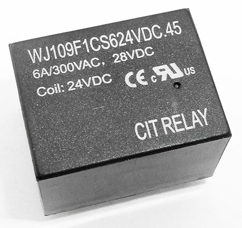 6A 24V PCB Mount Relay CIT WJ109F1CS624VDC.45