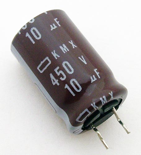 10uF 450V Radial Electrolytic Capacitor United Chemi Con KMX450VB10MMc