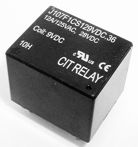 12A 9VDC SPDT Relay CIT J107F1CS129VDC.36