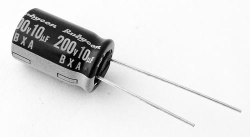 10uF 200V Radial Electrolytic Capacitor Rubycon 200BXA10M10X16