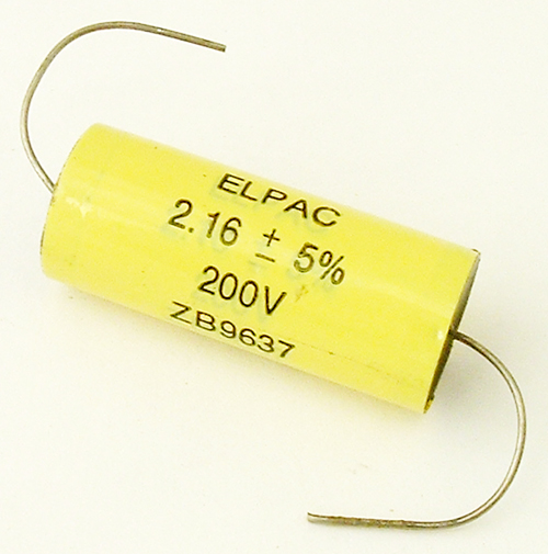 2.16uF 200V Axial Polyester Film Capacitor Elpac ZB9637
