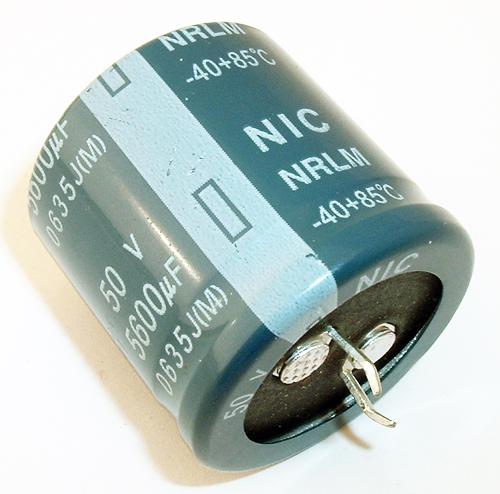 5600uF 50V Radial Snap In Electrolytic Capacitor NIC NRLM562M50V30X30